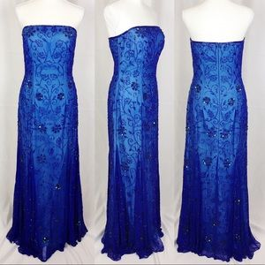 CACHE Blue Silk Sequin Gown-Sleeveless/Strapless-S